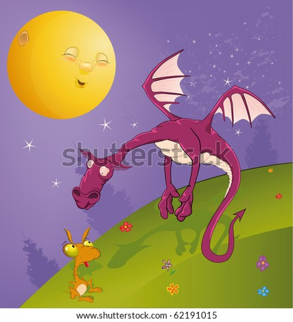 Fairy tale on dragons - stock photo