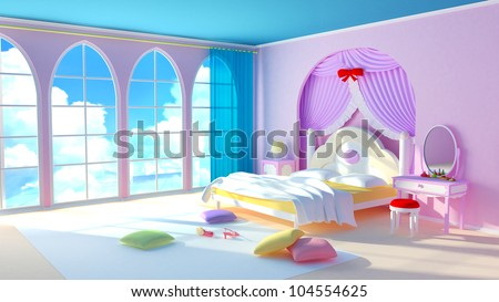 Fairy tale princess room. The pink bedroom girl with colorful pillows and large windows. In the windows of the cloud. - stock photo