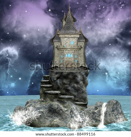 Fairy tale series - dreamland palace over an island - stock photo