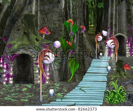Fairy tale series - fabulous bridge in the middle of the forest - stock photo