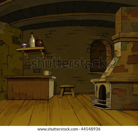 fairy tales Ancient Interior (cartoon art) - stock photo