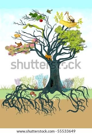 Fairy tree and animal world - stock photo