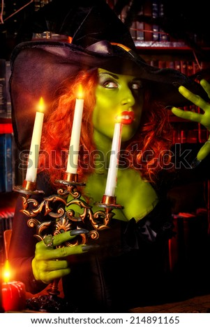 Fairy wicked witch in the wizarding lair. Magic. Halloween. - stock photo