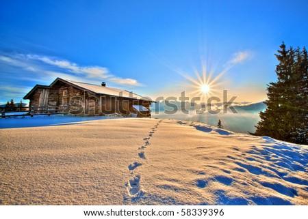 fairy winter landscape - stock photo