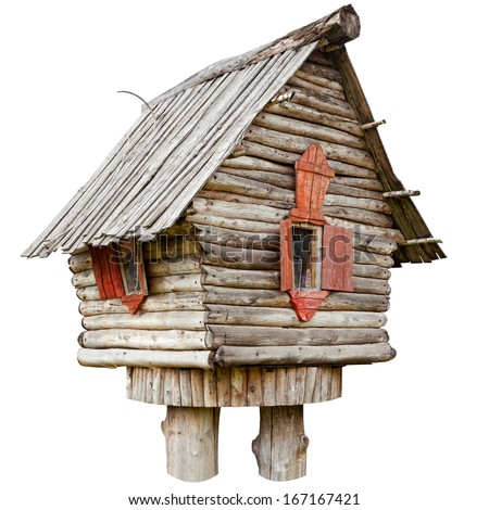 fairy witch house on chicken legs from folklore, isolated - stock photo