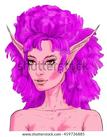 Fairy with violet flower hair and red eyes drawing on white background