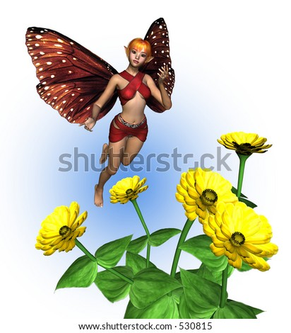 Fairy with Zinnias - 3D render - stock photo