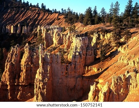 Fairyland point at sunrise, Bryce Canyon National Park, Utah, USA. - stock photo