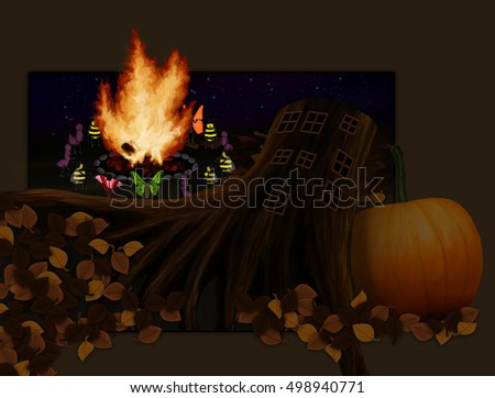 Fairytale about butterflies that live in the house on a tree stump. Halloween or Thanksgiving