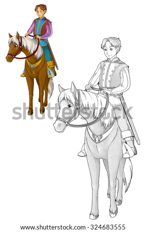 Fairytale cartoon character - prince on the horse - coloring page - illustration for the children - stock photo