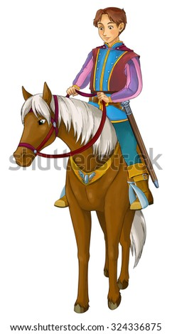 Fairytale cartoon character - prince on the horse - illustration for the children - stock photo