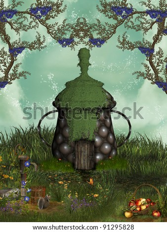 fairytale house with ivy in the garden - stock photo