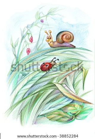 Fairytale illustration with snail and ladybird - stock photo