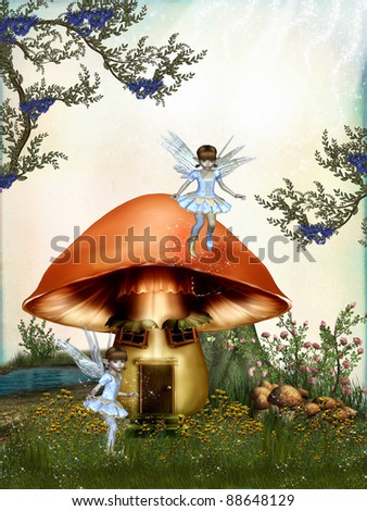fairytale in the forest with mushroom house - stock photo