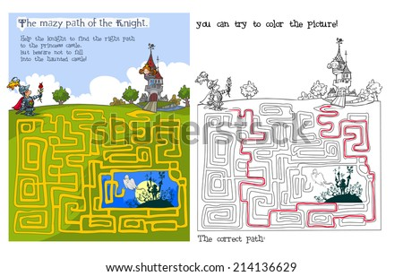 Fairytale Maze and coloring game. Raster version.  - stock photo
