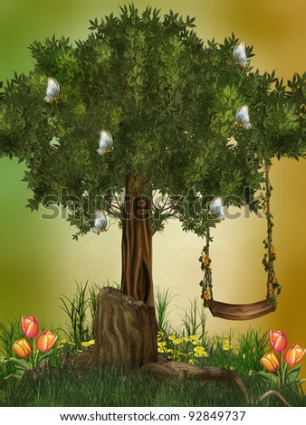 fairytale scene with hammock butterflies and flowers - stock photo