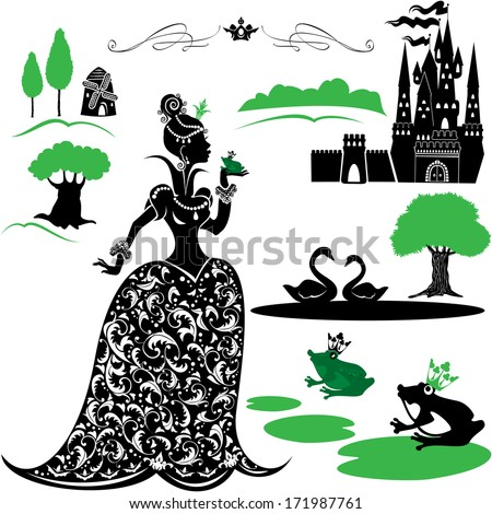 Fairytale Set - silhouettes of Princess and frog, castle, forest, lake, swans.  Raster version - stock photo
