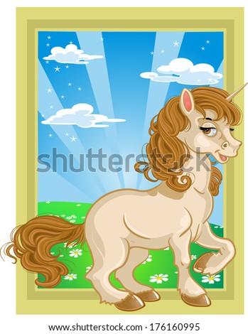 Fairytale unicorn on color landscape - stock photo