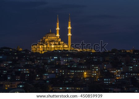 faith mosque at night, istanbul - stock photo