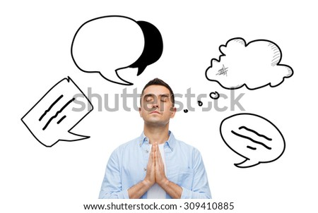 faith, religion and people concept - man with closed eyes praying to god with text bubble doodles