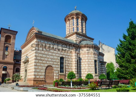 Faithful people gathering to church service at Saint Anton Church (The Old Court Church), considered the oldest church in Bucharest, Romania, built in 1554 - stock photo