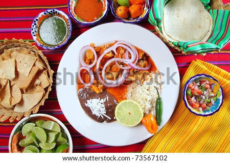 fajitas mexican food with rice frijoles chili sauce and nachos - stock photo