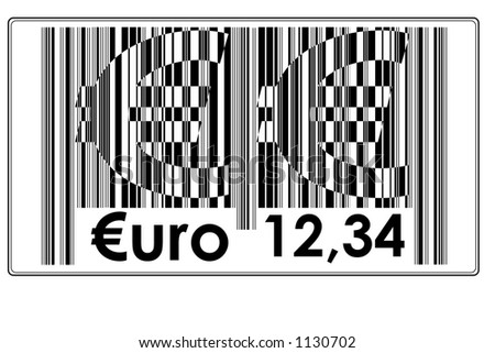 "Fake Bar Code with text ""two big € + €uro"" and space to insert price #14"