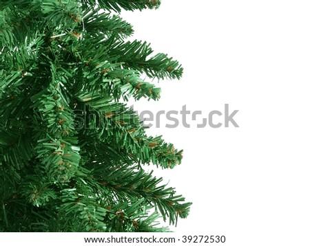 Fake Christmas tree border - stock photo