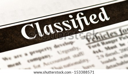 Fake Classified Ad, newspaper, business concept - stock photo