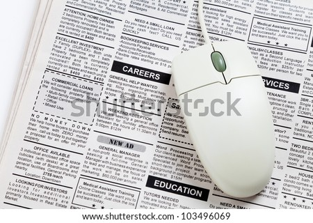 Fake Classified Ad, newspaper, job concept.
