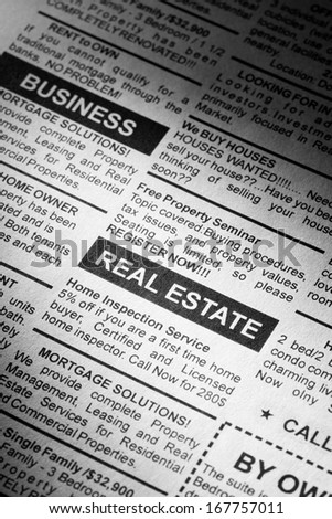 Fake Classified Ad, newspaper, real estate concept. - stock photo