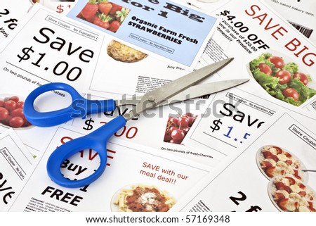 Fake coupon background with Scissors.  All coupons were created by the photographer.  Images in the coupons are the photographers work and are included in the release. - stock photo