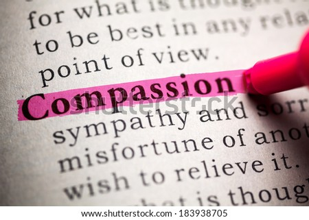 Fake Dictionary, definition of the word compassion. - stock photo