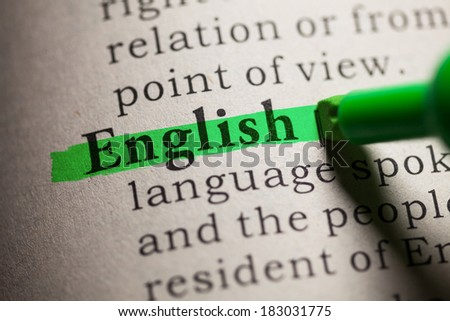 Fake Dictionary, definition of the word english. - stock photo