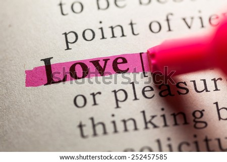 Fake Dictionary, definition of the word love. - stock photo
