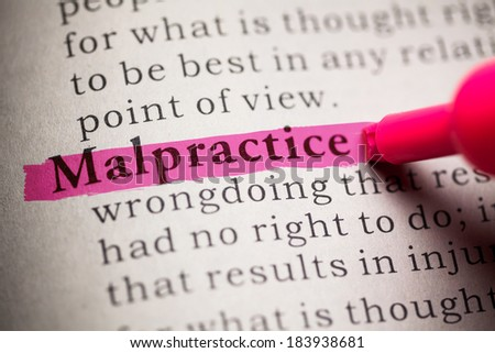 Fake Dictionary, definition of the word malpractice. - stock photo
