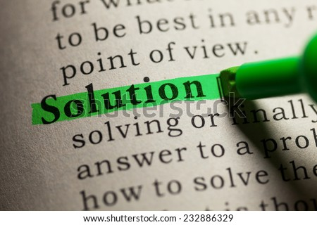 Fake Dictionary, definition of the word solution. - stock photo