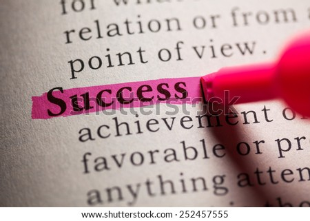 Fake Dictionary, definition of the word Success. - stock photo