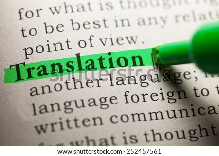 Fake Dictionary, definition of the word Translation. - stock photo