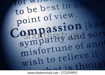 Fake Dictionary, Dictionary definition of compassion. - stock photo