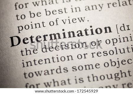Fake Dictionary, Dictionary definition of determination. - stock photo