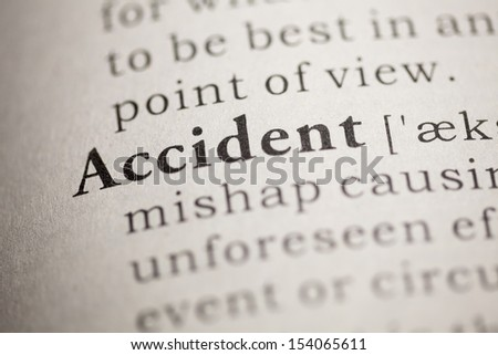 Fake Dictionary, Dictionary definition of the word Accident. - stock photo