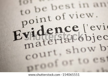 Fake Dictionary, Dictionary definition of the word Evidence. - stock photo