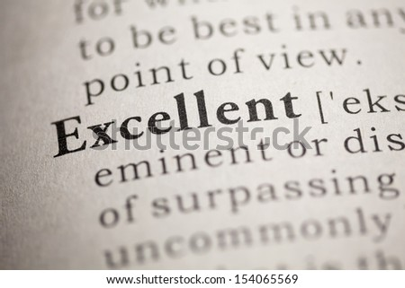 Fake Dictionary, Dictionary definition of the word Excellent. - stock photo