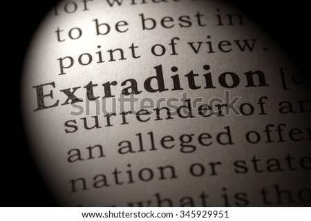 Fake Dictionary, Dictionary definition of the word extradition - stock photo