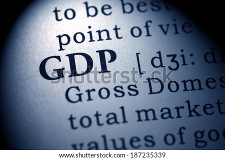 Fake Dictionary, Dictionary definition of the word GDP. Gross domestic product - stock photo
