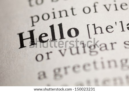Fake Dictionary, Dictionary definition of the word Hello.