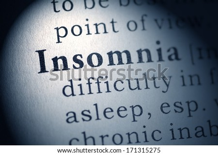 Fake Dictionary, Dictionary definition of the word insomnia. - stock photo
