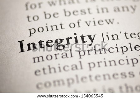Fake Dictionary, Dictionary definition of the word Integrity.