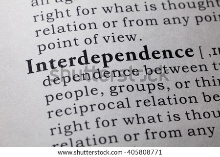 Fake Dictionary, Dictionary definition of the word interdependence. - stock photo